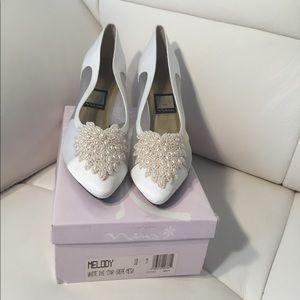 Brand New NINA White Sheer Beaded Dyeable Heels